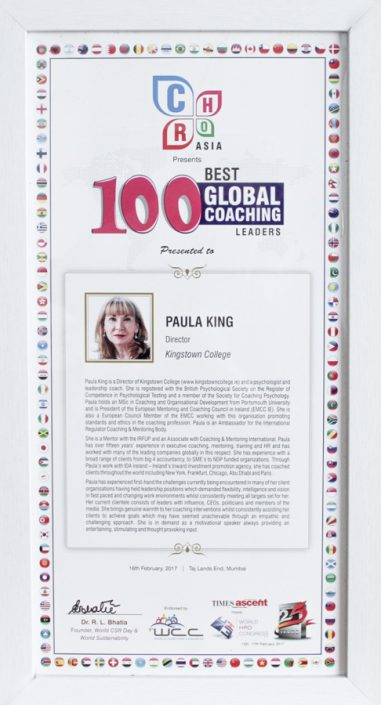 100 Best Global Coaching Leaders Award for Paula King